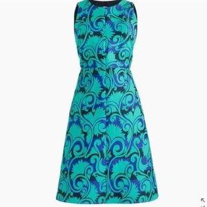 J. Crew Green Navy Vineyard Jacquard Print Dress